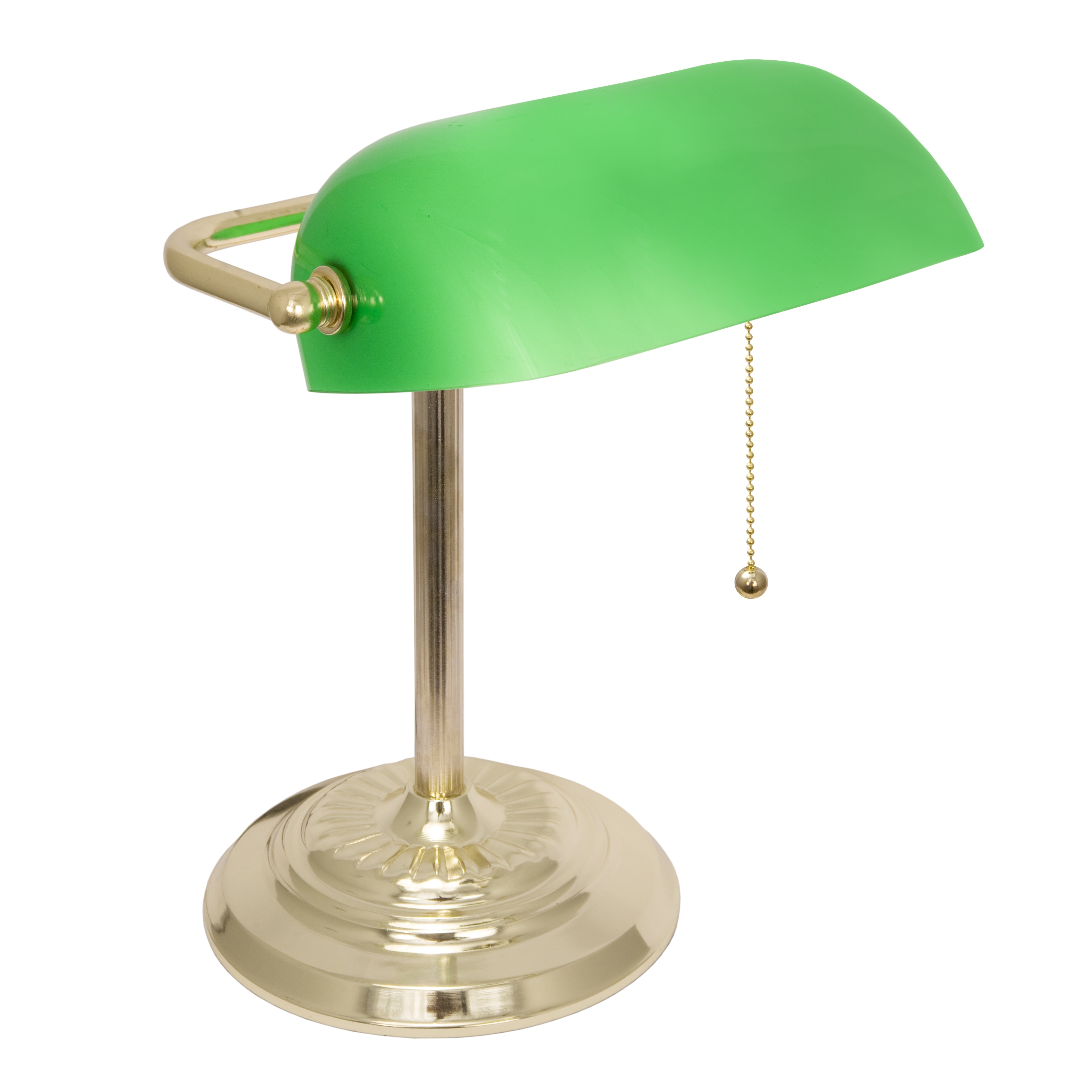 Light Accents Brass Finish Banker's Lamp with Green Glass...