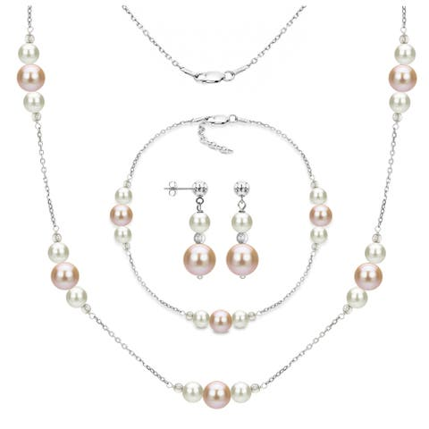 DaVonna Sterling Silver White and Pink Freshwater Pearl Necklace Bracelet and Stud Dangle Earring Set