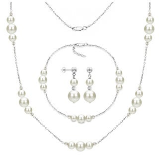 Link to DaVonna 3-piece Sterling Silver Freshwater Pearl Necklace Bracelet and Earring Jewelry Set Similar Items in Jewelry Sets