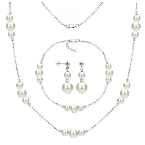 DaVonna 3-piece Sterling Silver Freshwater Pearl Necklace Bracelet and Earring Jewelry Set