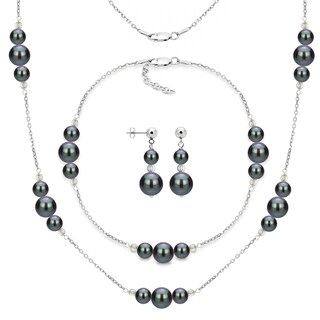 DaVonna 3-piece Sterling Silver Freshwater Pearl Necklace Bracelet and Earring Jewelry Set (Option: Black)