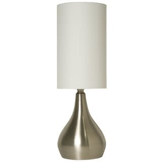 Light Accents Silver Aluminum 18-inch Modern Table Lamp with 3-way Switch Feature and White Fabric Drumshade