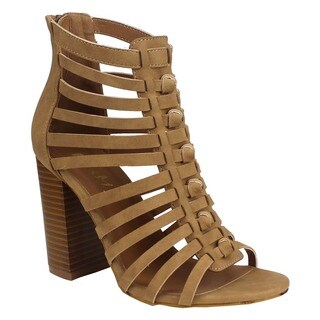 MI.IM Women's Tan Faux-leather Strappy Caged Heel
