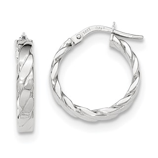 Versil 14k White Gold Patterned Hoop Earrings