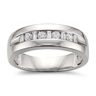 Montebello Jewelry 14k White Gold Men's 1/2ct TDW White Diamond Comfort-fit Wedding Band