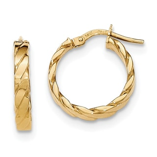 Versil 14k Yellow Gold Patterned Hoop Earrings