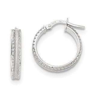 Versil 14k White Gold Polished/Satin Ridged Edge Concave Hoop Earrings