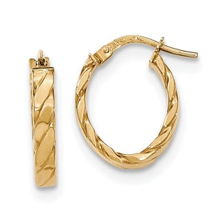 Versil 14k Yellow Gold Patterned Oval Hoop Earrings