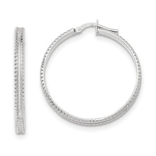 Versil 14k White Gold Polished Ridged Edge Concave Hoop Earrings