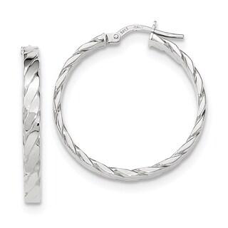 Versil 14k White Gold Patterned Hoop Earrings