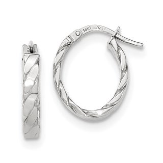 Versil 14k White Gold Patterned Oval Hoop Earrings