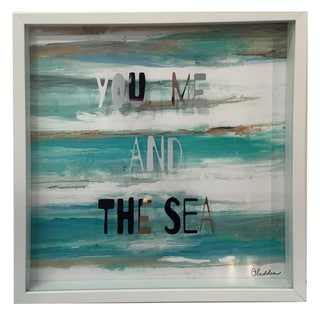 'You Me and the Sea' 12-inch x 12-inch Metallic Shadow Box