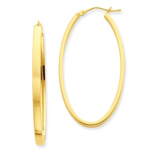 Versil 14k Yellow Gold Polished Oval Hoop Earrings