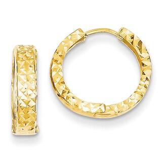 Versil 14k Yellow Gold Diamond-cut Hinged Hoop Earrings