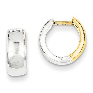 Versil 14k Two-tone Gold Hinged Hoop Earrings