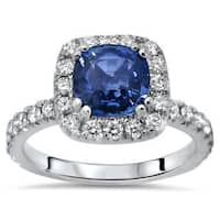 Noori 18k White Gold 2 1/5ct TGW Blue Cushion-Cut Sapphire Diamond Engagement Ring (SI1/SI2, F/G)