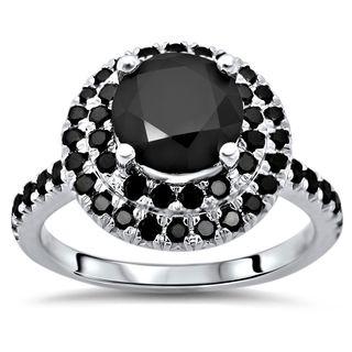 Noori 14k White Gold 2 ct TDW Certified Black Round-cut Diamond Double Halo Engagement Ring