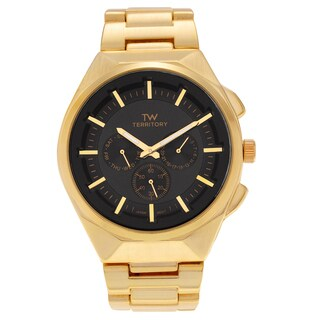 Territory Men's Round Face Polished Link Bracelet Watch