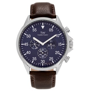 Territory Men's Ion Plated Stainless Steel Chronograph Dial Bracelet Watch - Blue