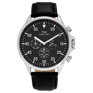 Territory Men's Stainless Steel Chronograph Dial Strap Watch - Black