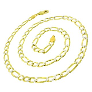 ITProLux .925 Sterling Silver 6-millimeter Solid Figaro Goldplated Link Diamond Cut Necklace Chains