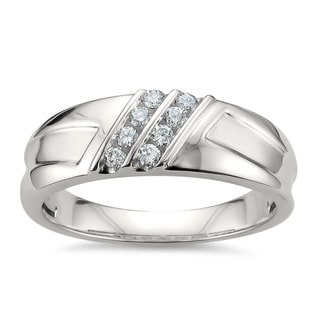 Montebello Jewelry 14k White Gold Men's 1/4ct TDW White Diamond Comfort-fit Wedding Band (H-I, SI1-SI2)
