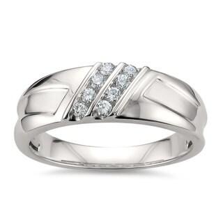 Montebello Jewelry 14k White Gold Men's 1/4ct TDW White Diamond Comfort-fit Wedding Band