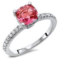 Noori 14k White Gold 1 2/5ct TGW Pink Cushion-Cut Sapphire Diamond Engagement Ring (SI1/SI2, F/G)