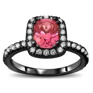 Noori 18k Black Gold 1 3/4ct TGW Pink Cushion-Cut Sapphire Diamond Engagement Ring (SI1/SI2, F/G)