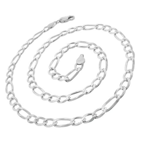 "Authentic Solid Sterling Silver 6mm Figaro Link Diamond-Cut Pave .925 ITProLux Necklace Chain 20"" - 30, Made In Italy"
