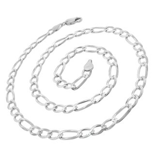 ITProLux 0.925 Sterling Silver 6-millimeter Solid Figaro Link Diamond-cut Necklace Chain