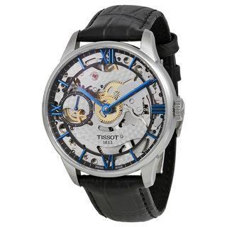 Tissot Men's T0994051641800 'Chemin Des Tourelles Squelette' Black Leather Watch