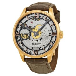 Tissot Men's T0994053641800 'Chemin Des Tourelles Squelette' Leather Watch