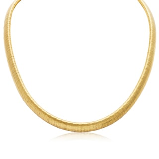 Italian 8mm 14k Yellow Gold Over Sterling Silver Omega Chain Necklace