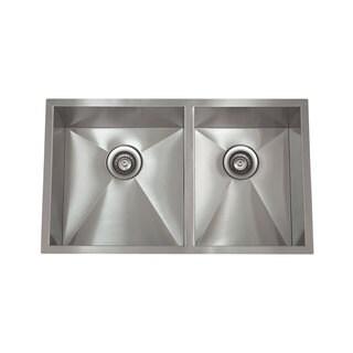 Zero Radius Satin Stainless Steel 32-inch x 19-inch 60/40 Bowl Sink