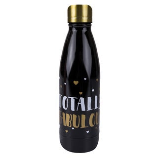 Boston Warehouse 'Totally Fabulous' Black/Gold Stainless Steel 17-ounce Double-wall Bottle