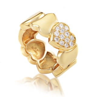 Estate Fred of Paris 18k Yellow Gold Diamond Heart Band Ring