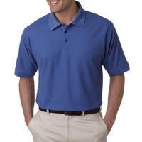 Whisper Men's Pique French Blue Polyester Polo T-shirt (6XL)