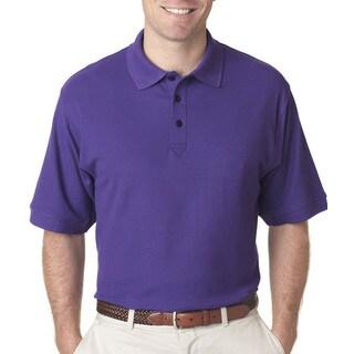 Whisper Men's Purple Polyester Short Sleeve Polo Shirt
