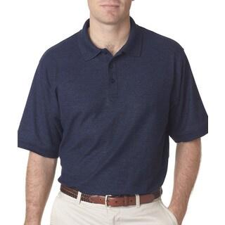 Whisper Men's Blue Polyester Short Sleeve Polo Shirt