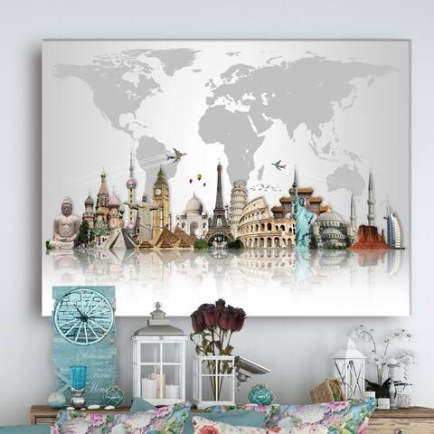 Famous Monuments Across World - Art Canvas Print - Grey