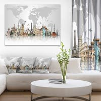 Famous Monuments Across World -  Art Canvas Print - Grey