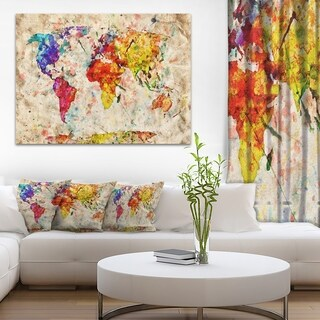 Vintage World Map Watercolor - Maps Painting Canvas Art Print - Red
