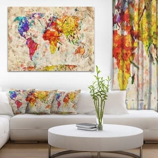 Wood map art gallery for less overstock vintage world map watercolor maps painting canvas art print gumiabroncs Image collections