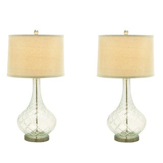 Urban Designs Euro Glass and Linen Table Lamp (Set of 2)