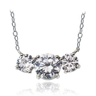 Icz Stonez Sterling Silver 2.5ct TGW Cubic Zirconia Three Stone Necklace