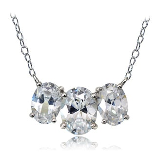 Icz Stonez Sterling Silver 3 4/5ct Cubic Zirconia Three Stone Oval Necklace