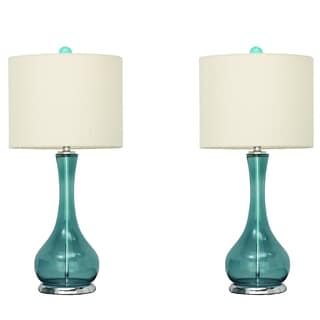 Urban Designs Mykonos Blue Glass Table Lamp (Set of 2)