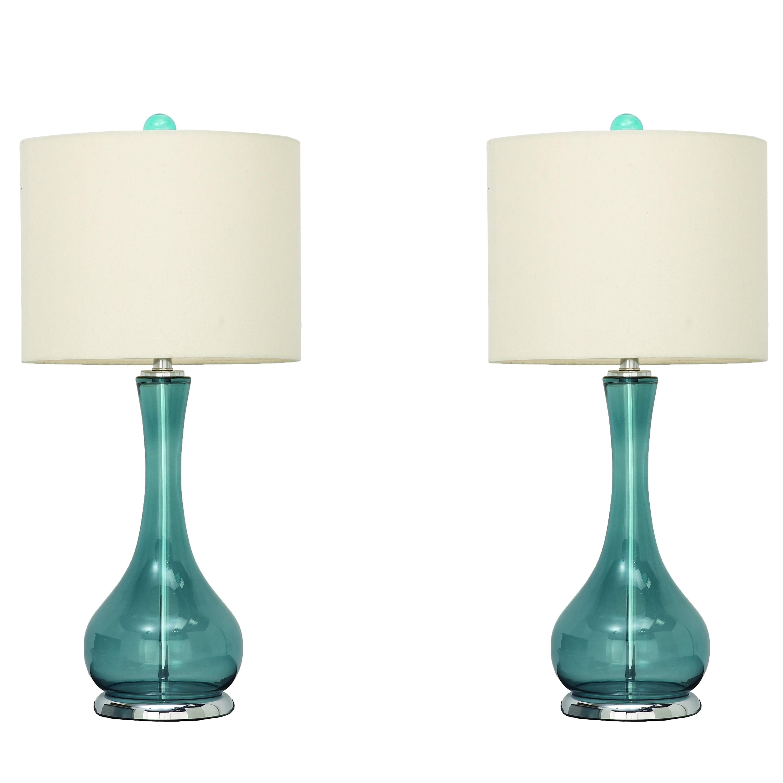 Shop Black Friday Deals On Urban Designs Mykonos Blue Glass Table Lamp Set Of 2 Overstock 12113368
