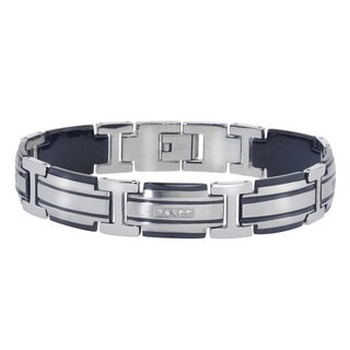 Men's Stainless Steel 0.2-carat Diamond Bracelet With Black Ion-plated Accents By Ever One